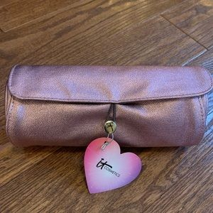 IT Cosmetics Pink Shimmer Rolled Cosmetic Bag